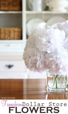 Transform Dollar Store fake flowers and make them look real. (More beautiful flowers that I need to make someday for my living room/kitchen/bedroom/all rooms...)