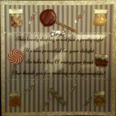 Lolly bar sign handmade card that will look fabulous framed and sitting on the candy/lolly bar table (weddings,events)