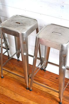 Industrial Metal Stools set of four by swanandshears on Etsy, $280.00