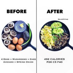 Before & After – 5 Ingredients – 10 Mins Recipe Below 🍳 Cast iron skillet one pan How we Roll on the Weekend 👨🍳 Creds to @livevitae✨ 99% of the time my first meal...