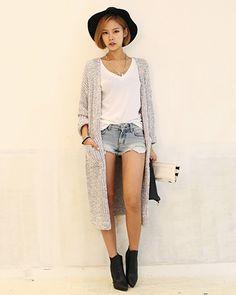 韓国ファッション DABAgirl(ダバガール) ルーズロングカーディガン