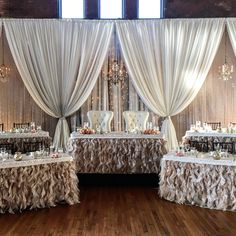 Beautiful Wedding Reception Decoration Ideas - Put the Ring on It Head Table Wedding, Bridal Table, Wedding Reception Decorations, Wedding Ideas, Stage Decorations, Wedding Receptions, Wedding Events, Wedding Draping, Wedding Stage