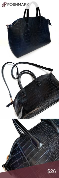 Black Faux Leather Croc Embossed Convertible Bag A gorgeous tote for work or play. Has two short straps and a detachable cross body strap. Gold tone hardware, top zip keeps everything secure. Inside there is a large zip pocket that divides the bag into two sections. One smaller zip pocket and two slip pockets. Interior is clean. Very gently used. Sorry, no trades. Boutique  Bags Crossbody Bags