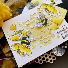 Hexagon Cards, Hero Arts Cards, Bee Cards, Bee Theme, Animal Cards, Card Kit, Art Blog, Making Ideas, Cardmaking
