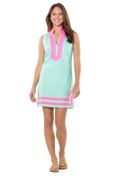 The perfect pairing of cabbage linen and hot pink twill tape, this 100% linen tunic dress is your go to classic dress for summer and beyond