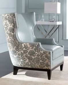 """Shop """"Catarina"""" Chair from Massoud at Horchow, where you'll find new lower shipping on hundreds of home furnishings and gifts. Sofa Design, Canapé Design, Upholstered Chairs, Wingback Chair, Gray Armchair, My Living Room, Living Room Chairs, Dining Room, Vintage Chairs"""