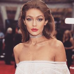 Gigi Hadid, slicked back hair