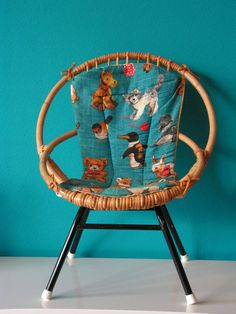 Vintage Cane Children's Chair, design by Rohe, Netherlands via Etsy. Cheap Chairs, Cool Chairs, Vintage Chairs, Vintage Decor, Turquoise Accent Walls, Leopard Chair, Love Your Home, Art Deco, Find Furniture