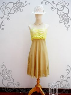 SALE TODAY Floral Love  Chiffon Dress in Lime and by myonefineday