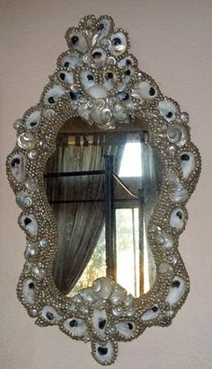 French Venetian Oyster Seashell Rococo Ivory Pearl Shell Encrusted Mirror | eBay