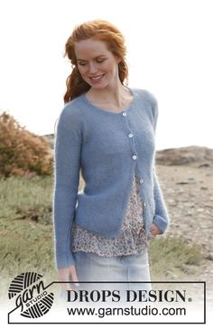 "Morning Sky - Gilet DROPS au point mousse, en ""Kid-Silk"". - Free pattern by DROPS Design"