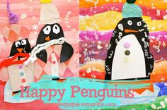 Colorful penguin art project that use simple supplies and teaches a bunch of art techniques. Makes a cute Xmas craft, too!
