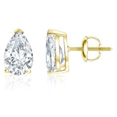 These gorgeous earrings features pear-shaped diamonds in prong setting. These earrings are crafted of 18k yellow gold and secure with screw back claps.