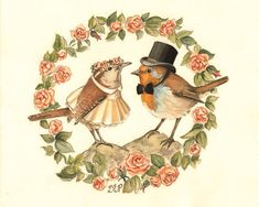 Mother Goose Nursery Rhyme Illustration for The Marriage of Cock Robin to Jenny Wren  These two little love birds have quite the sweetest little