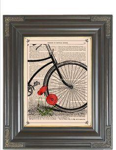 BOGO SALE Vintage bicycle Orange poppies collage by bmarinacci, $9.75