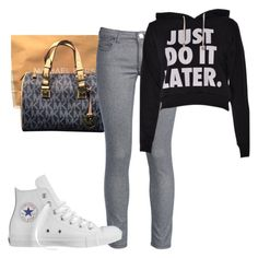 """""""Just do it Later"""" by kimah101 ❤ liked on Polyvore featuring Michael Kors, George J. Love and Converse"""