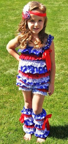 4th July Lace Satin Pettiromper Set- MANY SIZES!! - 4th Of July - Products For Moriah