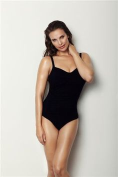 Whittle your waist in Retro's slimming one-piece swimsuit. Lightweight draping in front, contours and shapes your silhouette. Wide adjustable straps and high back.  It's the perfect bathing suit for every body!