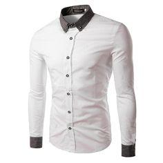 New Men Dress Shirts Fashion Cuff Stitching Turn-down Collar Long Sleeve Casual Shirt