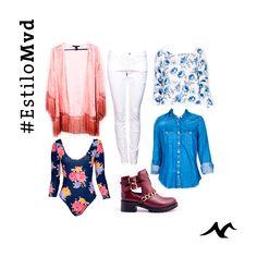 Para esta nueva temporada, les traemos un look con mucho #EstiloMVD. Jean blanco y Camisa jean de Gap; Kimono, Body a flores y Sweater a flores de Forever 21; Botitas de Pasqualini