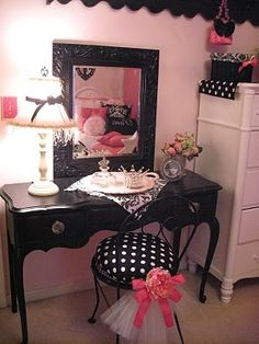 pink and black bedroom