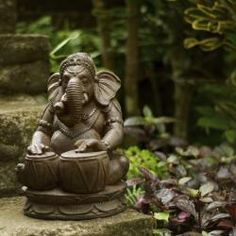 Stone Tabla Elephant Ganesha Statue (Indonesia)