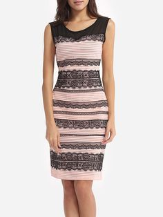 #AdoreWe #FashionMia Bodycon Dresses - FashionMia Assorted Colors Lace Patchwork Courtly Round Neck Bodycon-dress - AdoreWe.com