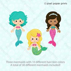 Pretty Mermaid Clipart and Digital paper set