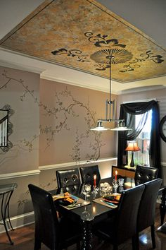 Chinoiserie dining room by artist Tom Henman. Modello® vinyl stencils on ceiling and wall. Love the plum blossom tree especially...