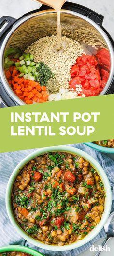 Instant Pot Lentil Soup - The ingredients and how to make it please visit the we. - Instant Pot Lentil Soup – The ingredients and how to make it please visit the website. Instant Pot Pressure Cooker, Pressure Cooker Recipes, Pressure Cooking, Lentil Soup Pressure Cooker, Whole Food Recipes, Cooking Recipes, Cooking Food, Amazing Food Recipes, Cooking Bacon