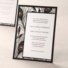 laser cut peacock wedding invitations