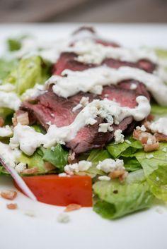 Steak Salad with Bacon Blue Cheese Dressing   bsinthekitchen.com #salad #dinner #bsinthekitchen