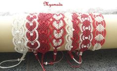 Red&White  micro macrame bracelets by Myamada by Myamadasv on Etsy