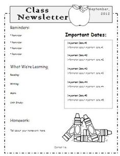 templates for classroom newsletters classroom newsletter template