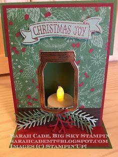 Big Sky Stampin': Christmas Joy and LIght, Jar of Love Christmas Jars, Stampin Up Christmas, Christmas Cards To Make, Xmas Cards, Handmade Christmas, Holiday Cards, Memories Box, Mason Jar Cards, Kirigami