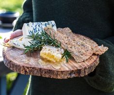 Rosemary and seed lavash crackers with blue cheese and honeycomb By Nadia Lim