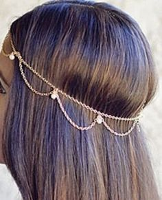 Sexy wavy faux pearl head chain, gold tone or silver tone- perfect for wedding, prom accessory, belly dancer, gypsy boho body jewelry