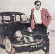 Current Pakistani Prime Minister, Nawaz Sharif, poses with his car as a young man in late 1960s.