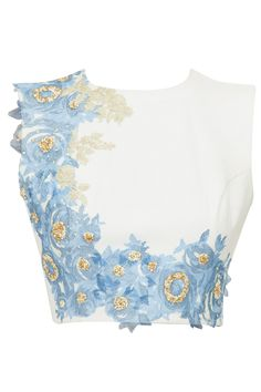 Ivory crop top with blue and gold floral detailing available only at Pernia's Pop-Up Shop.