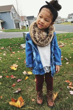 Cute outfit for a girl toddler. Love the faux fur scarf and combat boots!