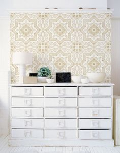 Our Lisboa Tile Stencil is a beautiful classic tile stencil design inspired by the Portuguese tiles, known as azulejos, that line the walls of Lisbon, Portugal. Use this pretty tile stencil on walls, Trellis Wallpaper, Of Wallpaper, Painted Wallpaper, Kitchen Wallpaper, Pattern Wallpaper, Wall Stencil Patterns, Tile Stencils, Stenciling, Star Stencil