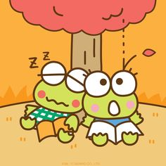 Looks like Keroppi is falling asleep under the autumn leaves on the First Day of Fall! Keroppi Wallpaper, Pochacco, Favorite Cartoon Character, Fall Wallpaper, Sanrio Characters, Doraemon, Preschool Crafts, Autumn Leaves, How To Fall Asleep