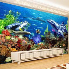 Custom Mural Wallpaper 3D Embossed Non-woven Lifelike Shark Dolphin Fish Underwater Blue Ocean Photo Wall Mural TV Sofa Backdrop