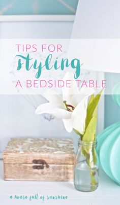 These tips are excellent - and so simple! I always get stuck with what to put on my bedside tables to make them look pretty, but now I'm feeling inspired. Number three is a game changer for me! via {A house full of sunshine} Bedside Table Styling, Bedside Tables, Home Crafts, Diy Home Decor, Crafts For Kids, Room Paint Colors, Game Changer, Bedroom Decor, Bedroom Ideas