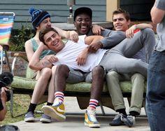 Zac Efron goofs around with the guys, plus more stars having fun on set- Neighbors