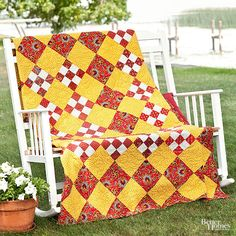 Stitch up Nine-Patch blocks and combine them with setting squares for an easy checkerboard-style quilt.