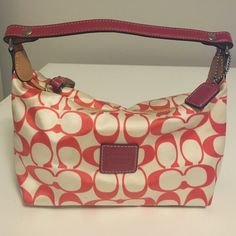 """Authentic Red Coach Shoulder Bag Good used condition Authentic Red Signature Small Shoulder Bag. No inside pockets. Dimensions L 7""""x H 4.5""""x W 3.5"""". Imperfections are shown in last pic. Coach Bags"""