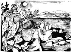 Time Was Away by Alan Ross Illustrations by John Minton – Ajaccio – Cactus and Sea Abstract Drawings, Art Drawings, Abstract Art, Abstract Paintings, John Minton, Vintage Artwork, Art Techniques, Illustration Art, Illustrations