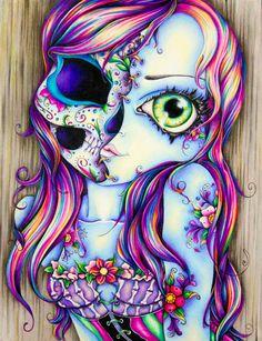"""Skull Lady Art Print- 8.5"""" x 11"""""""