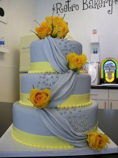 Grey And Yellow Draped Fondant Wedding Cake By Retro Bakery In Las Vegas Via Flickr